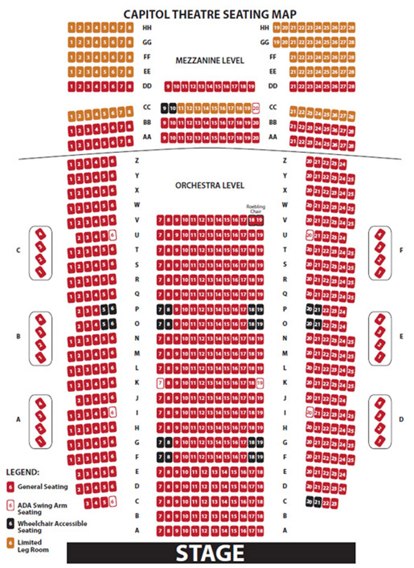 Capitol Theatre Seat Map